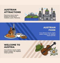 Austria tourism travel landmarks and austrian vector