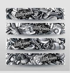 bathroom hand drawn doodle banners set cartoon vector image