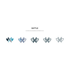 Battle icon in different style two colored and vector