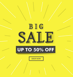 big sale banner background yellow vector image