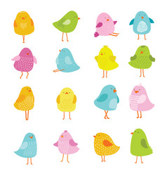 birds cartoons set vector image
