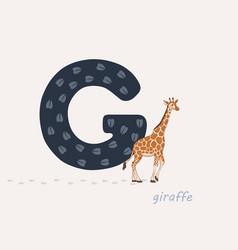 Blue letter g with giraffes vector
