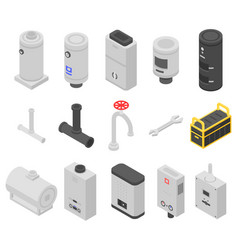 Boiler icons set isometric style vector
