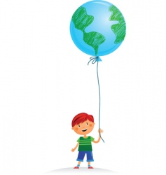 boy with balloon vector image