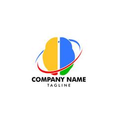 brain swoosh logo icon design template vector image