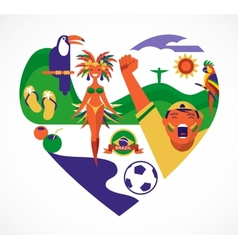 Brazil love - heart with a set of icons vector