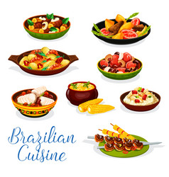 Brazilian cuisine grilled meat seafood bean stew vector