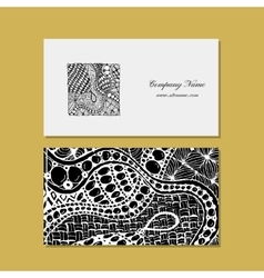 Business card zentangle ornament design vector