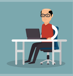 business man work used laptop office vector image