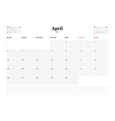 Calendar template for april 2021 business monthly vector