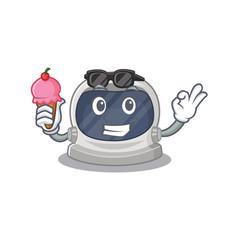 Cartoon astronaut helmet having an ice cream vector