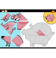 Cartoon farm pig puzzle game vector
