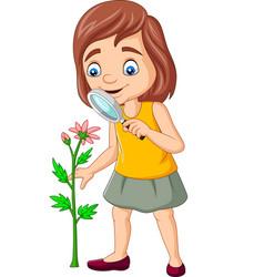 Cartoon girl using a magnifying glass vector