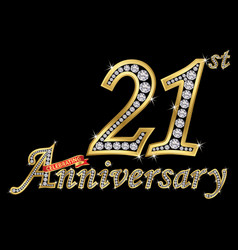 celebrating 21th anniversary golden sign with vector image