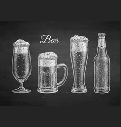 chalk sketch of beer vector image