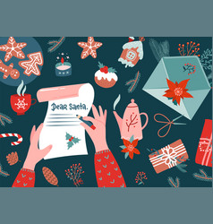 character hands with pen writing letter to santa vector image