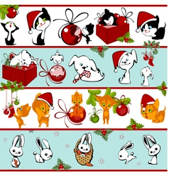 Christmas collection of animals vector