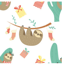 christmas seamless pattern with cute sloths vector image