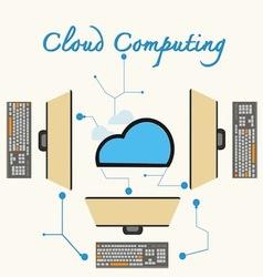 Cloud computing laptops vector image