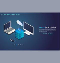 cloud storage isometric banner vector image