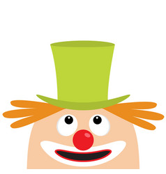 clown face head looking up big eyes red nose vector image