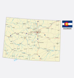 colorado road map with flag vector image