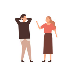 couple arguing flat wife vector image