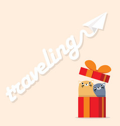 couple cat in gift box with paper plane vector image