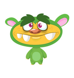 cute cartoon green monster vector image