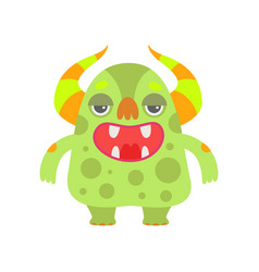 Cute green monster with open mouth funny alien vector