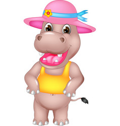 cute hippo cartoon standing with laughing vector image