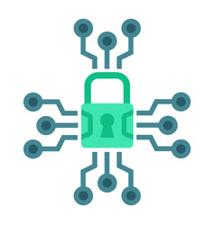 Cyber security flat icon padlock and security vector
