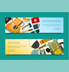 Discover new places set banners time to travel vector