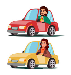 Driver people man woman sitting in modern vector