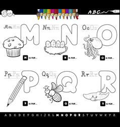 educational cartoon alphabet letters color book vector image