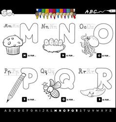 educational cartoon alphabet letters color book vector image vector image