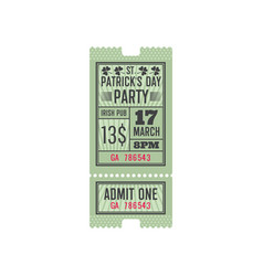 entry ticket to irish pub patrick day celebration vector image