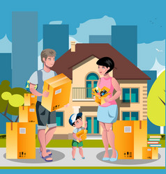 Family moved into a new house vector