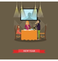 family New Years Eve vector image
