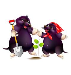 Fantasy two cute little moles working vector