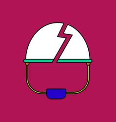 flat icon design collection broken military helmet vector image