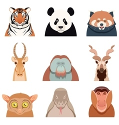 Flat set of asian animals vector image