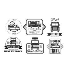Food truck premium retro logo templates set best vector