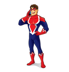friendly superhero talking vector image vector image