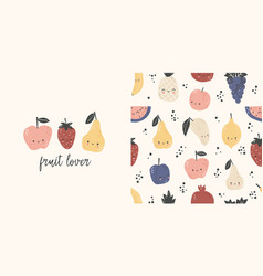fruit lover t-shirt design and seamless pattern vector image