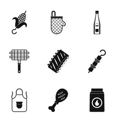 Frying meat icons set simple style vector