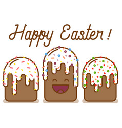 funny cartoon easter cake vector image