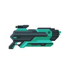 Futuristic space gun blaster black and green vector