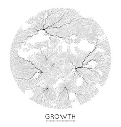 generative branch growth pattern round vector image