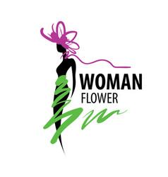 girl logo in shape a flower vector image
